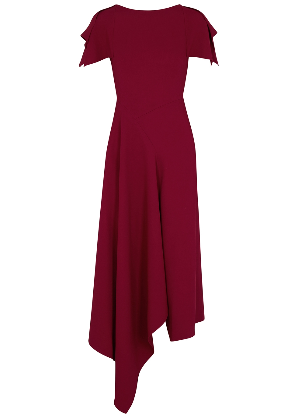 Warren red asymmetric midi dress