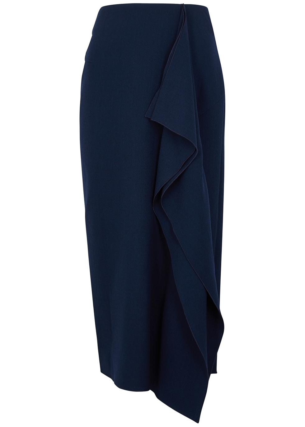 Milltown draped wool midi skirt
