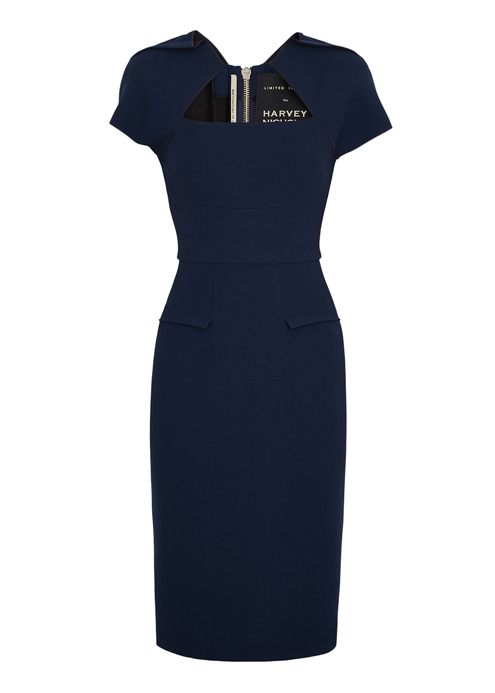 Myrtha navy wool crepe dress