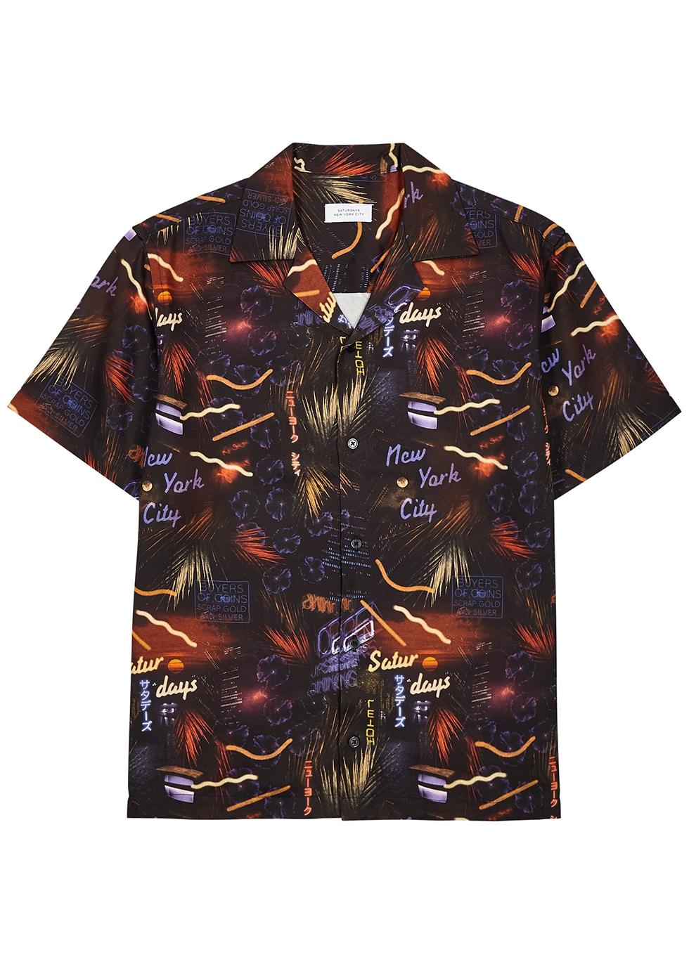Black printed twill shirt