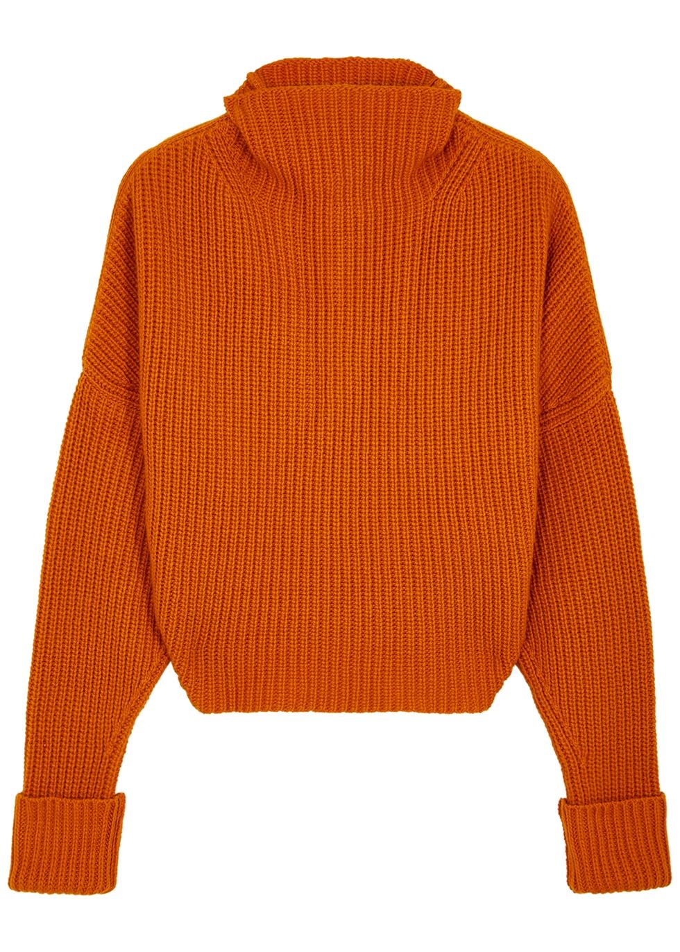 Kate orange ribbed cashmere jumper