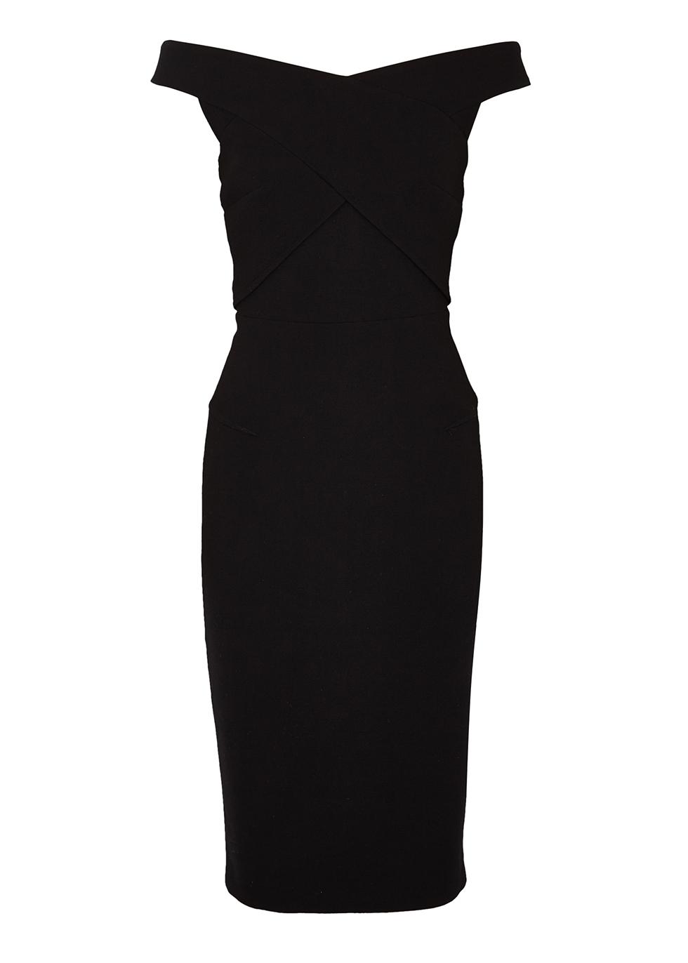 Amarula black off-the-shoulder midi dress