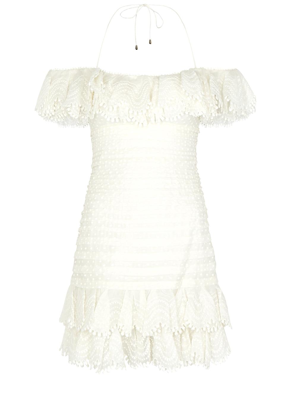 Zimmermann Super Eight Ruffled Pintucked Mini Dress - Womens - Black