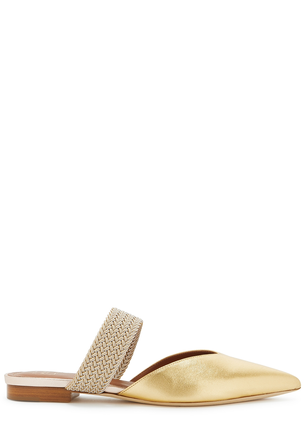 Maisie 10 gold leather mules