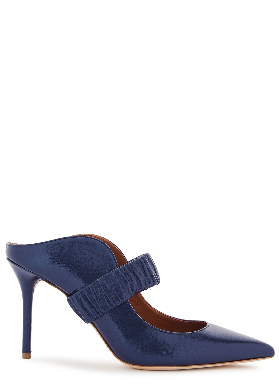 Mira 85 navy leather mules