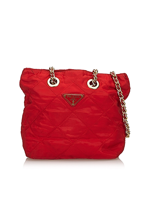 Red quilted nylon chain shoulder bag - Prada