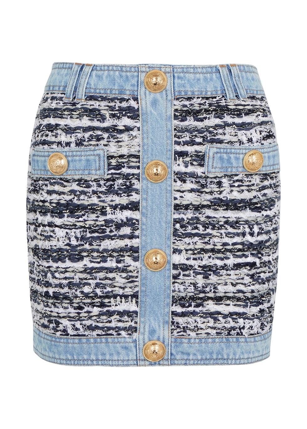 Panelled denim and bouclé tweed mini skirt