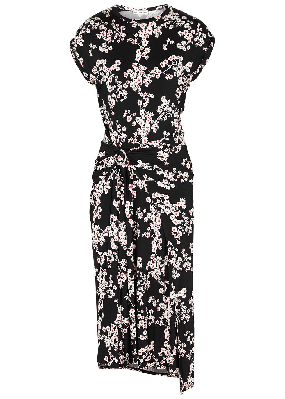 Black floral-print jersey midi dress