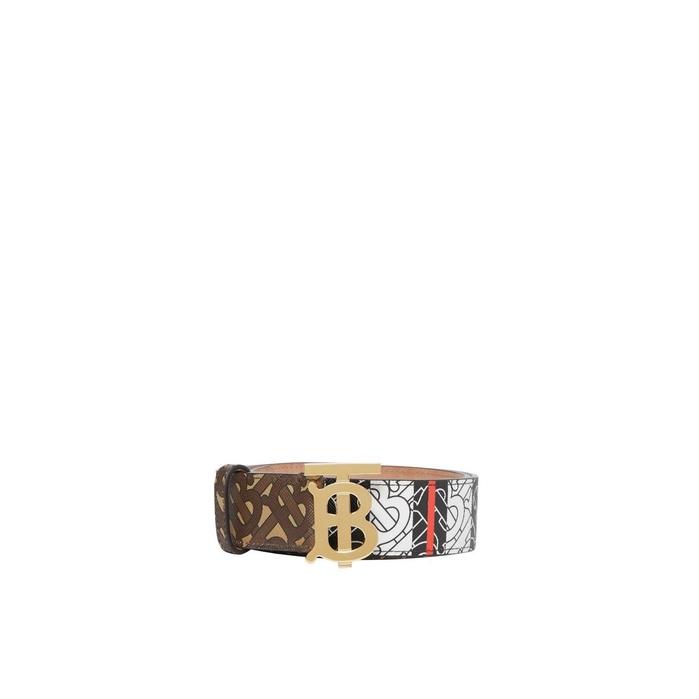 Burberry Monogram Stripe E-canvas And Leather Belt