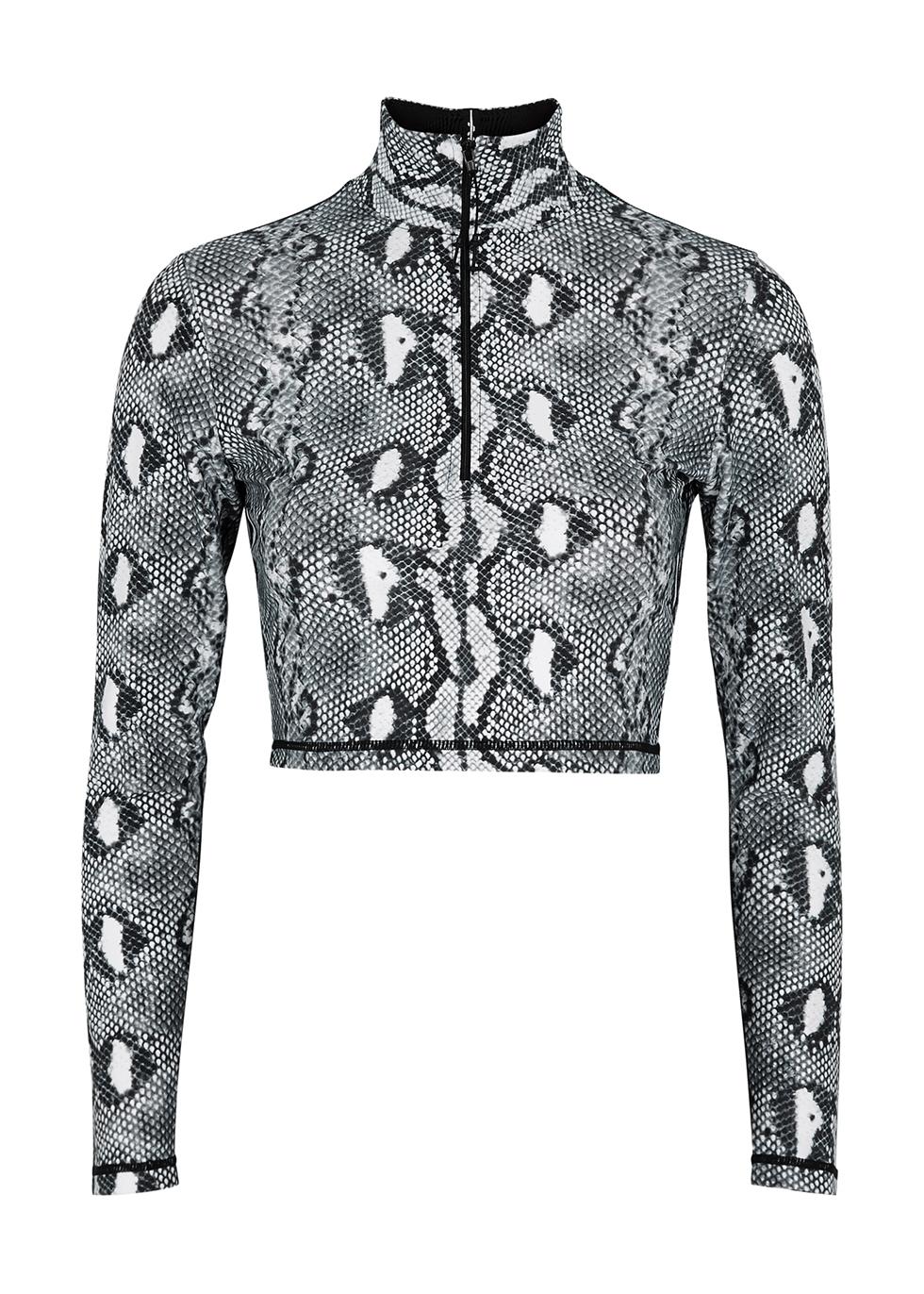 Python-print stretch-jersey top