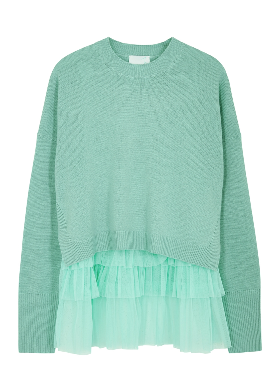 Opera mint tulle and wool-blend jumper
