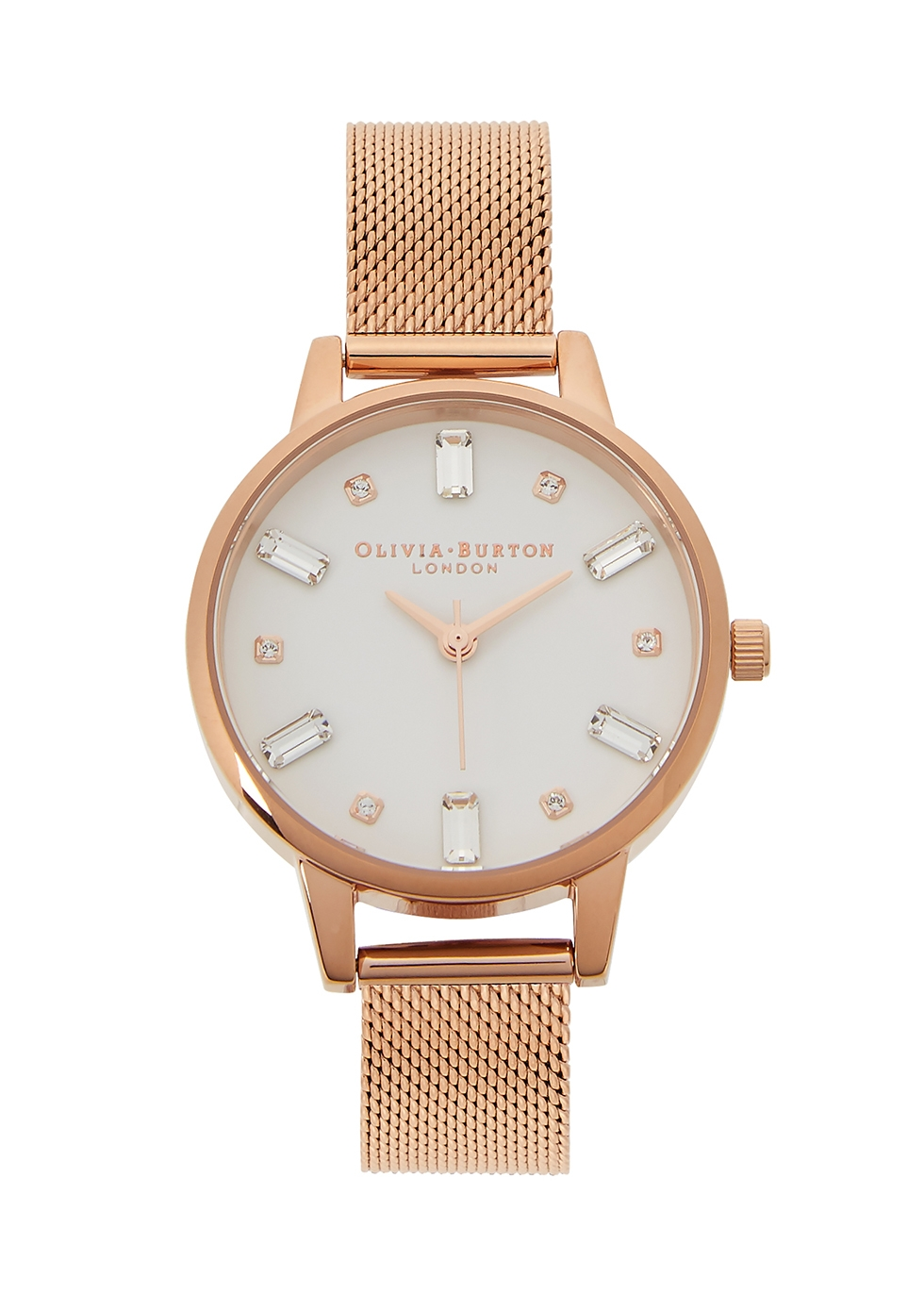 Bejewelled rose gold-plated watch