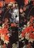 Womens wine red flower silk satin pyjama set - MENG