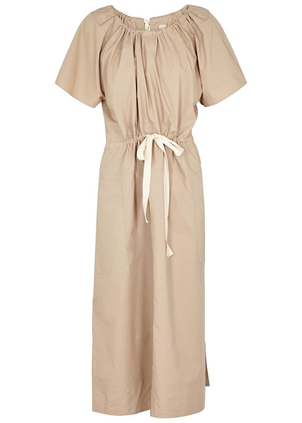Workroom sand poplin midi dress