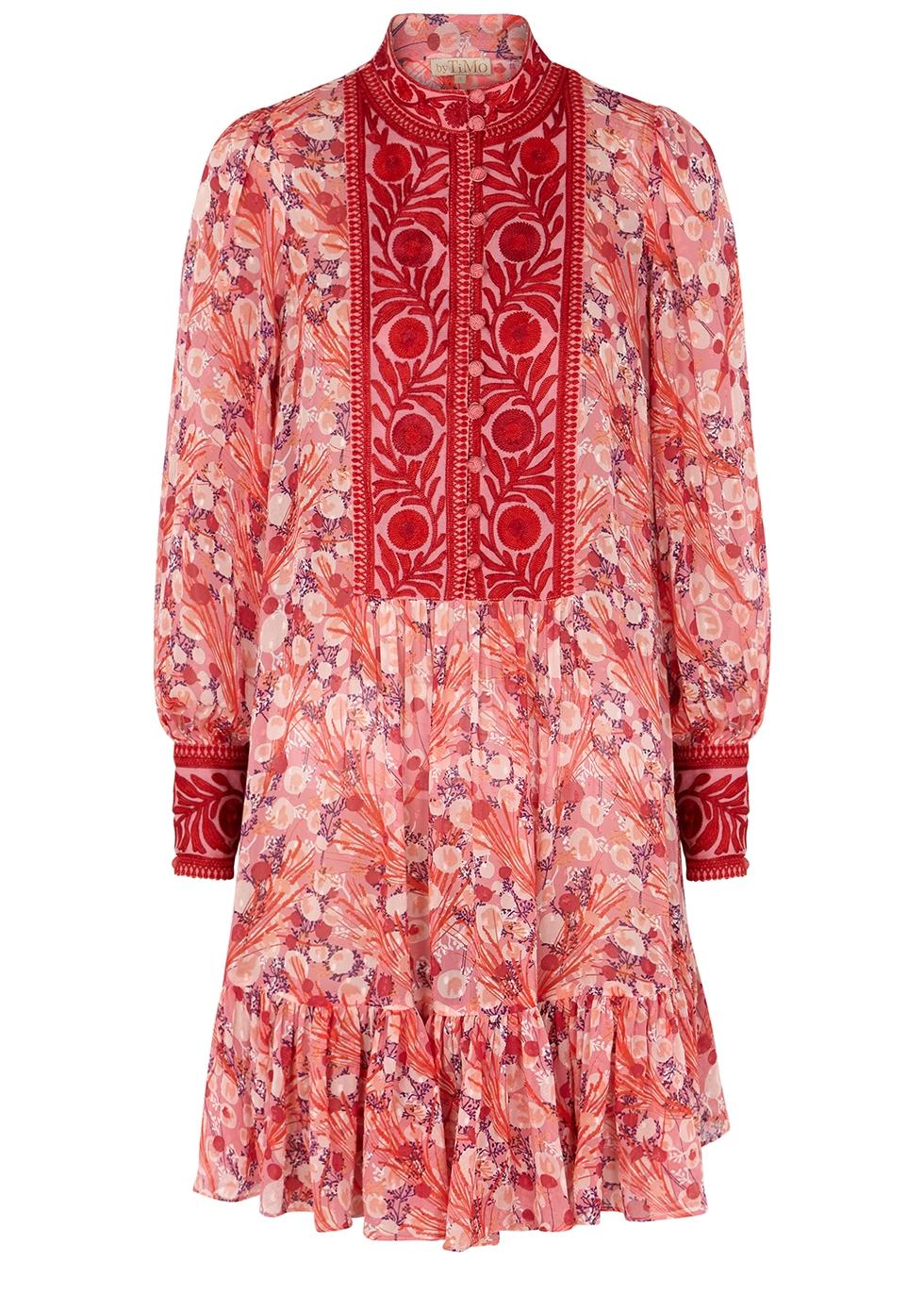 Pink printed fil coupé mini dress