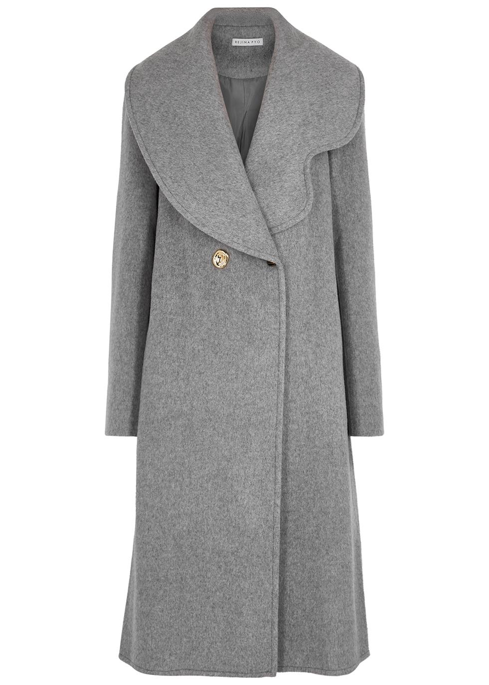 Marlene grey wool-blend felt coat