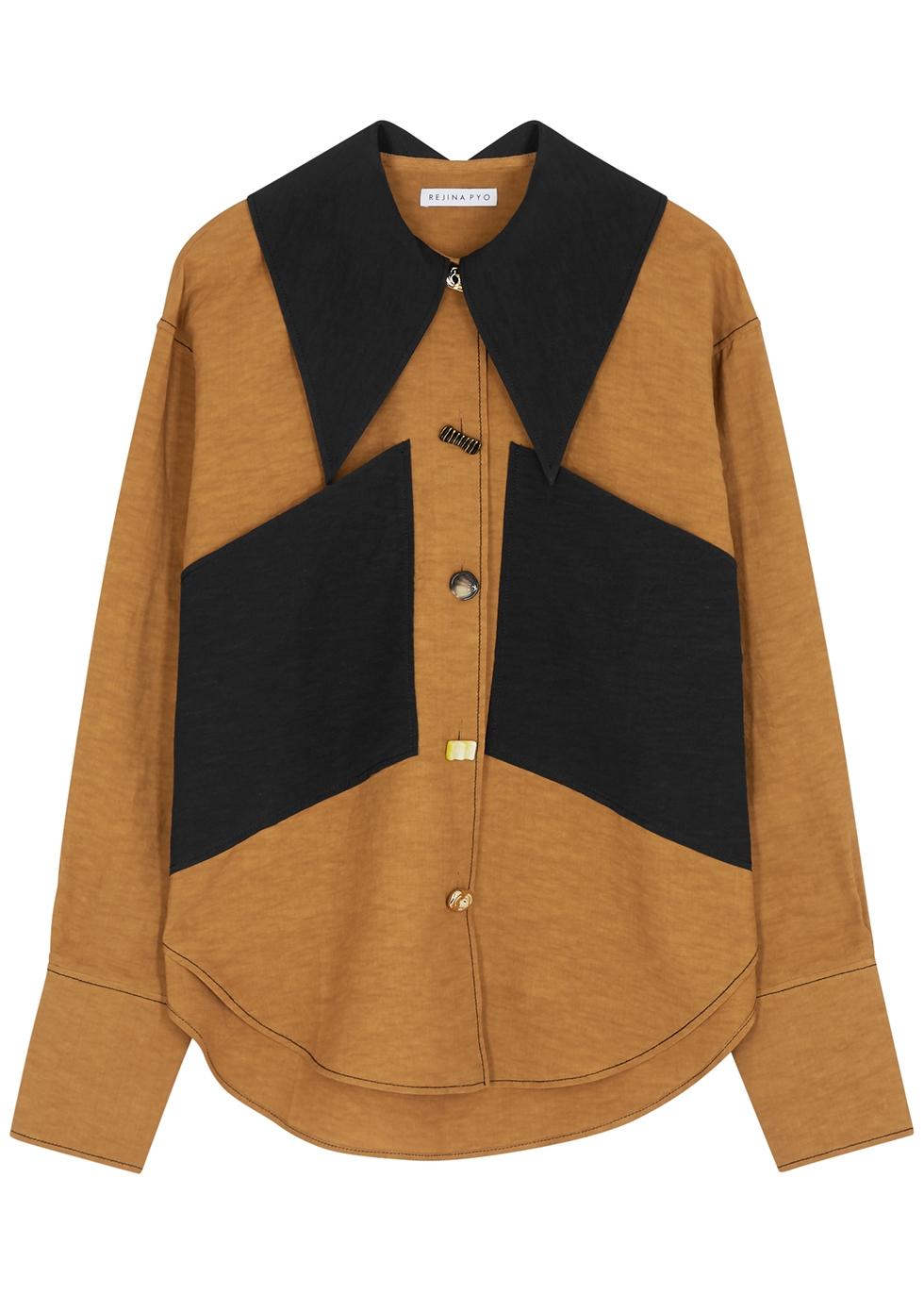 Cora brown taffeta shirt