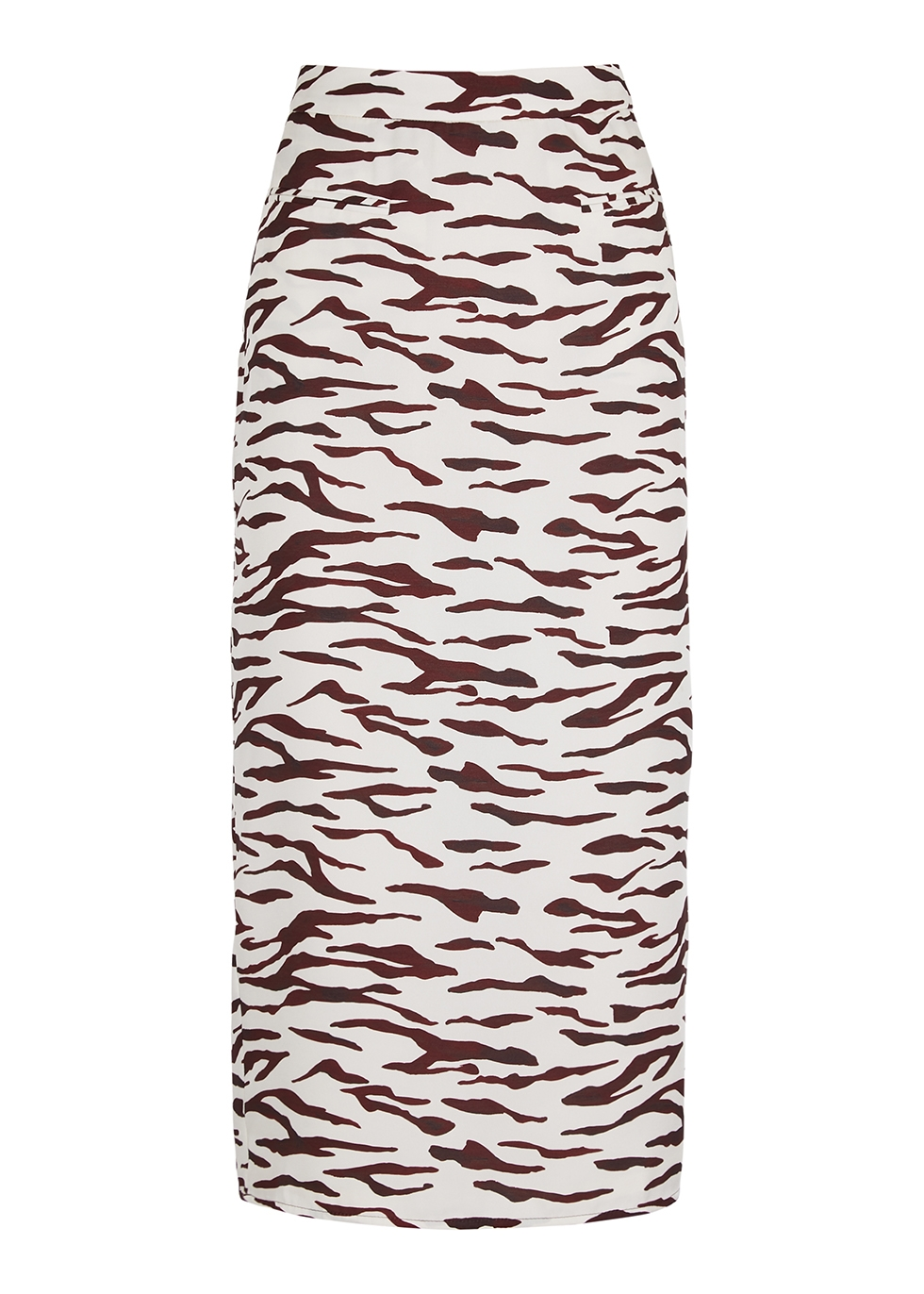 Mina printed satin midi skirt