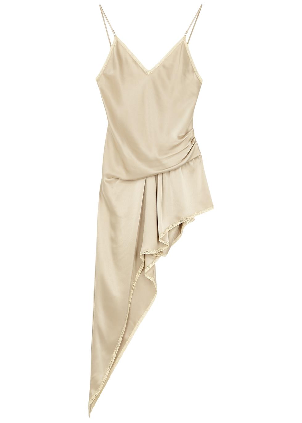 Champagne asymmetric satin mini dress