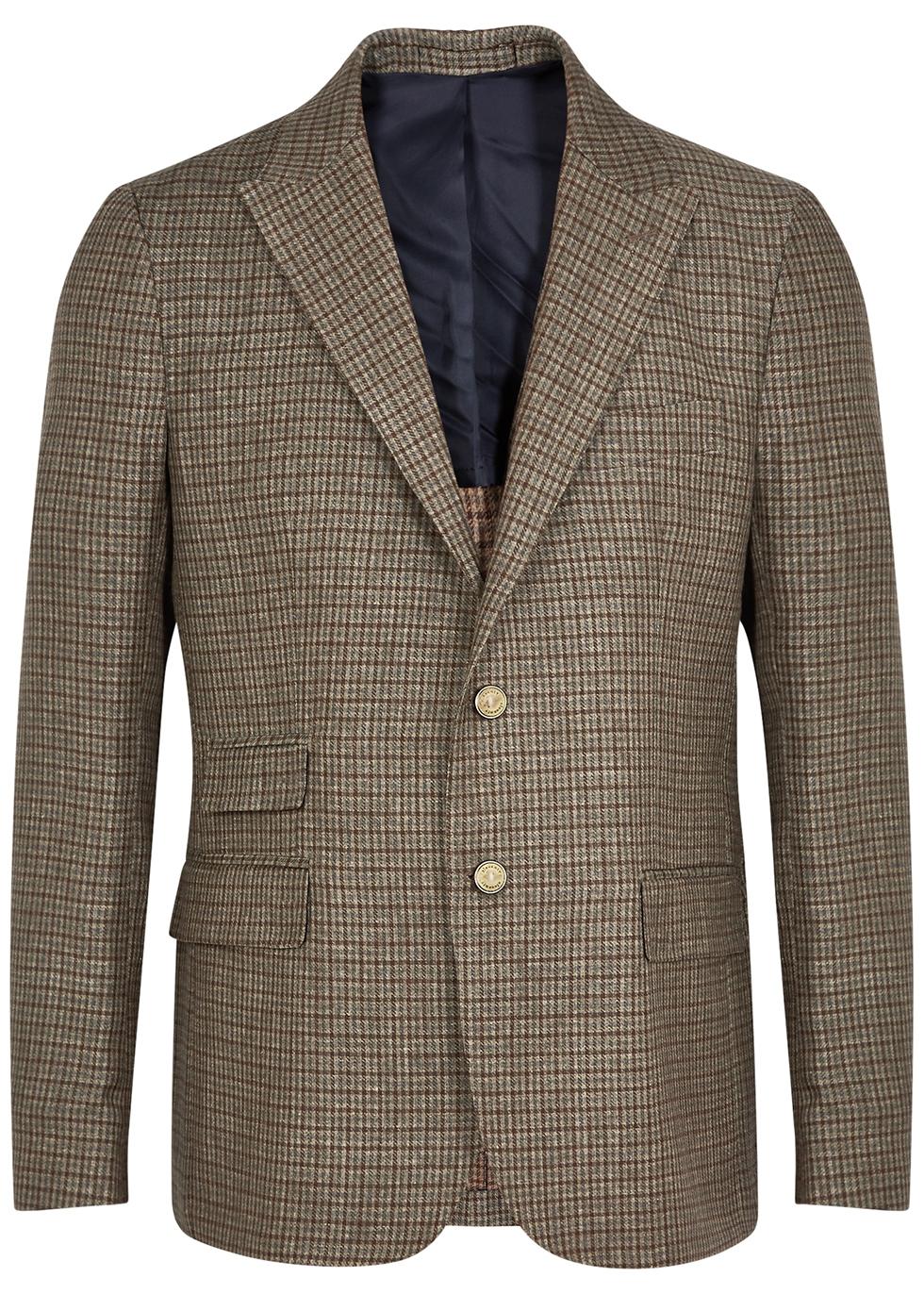 Brown checked linen-blend blazer