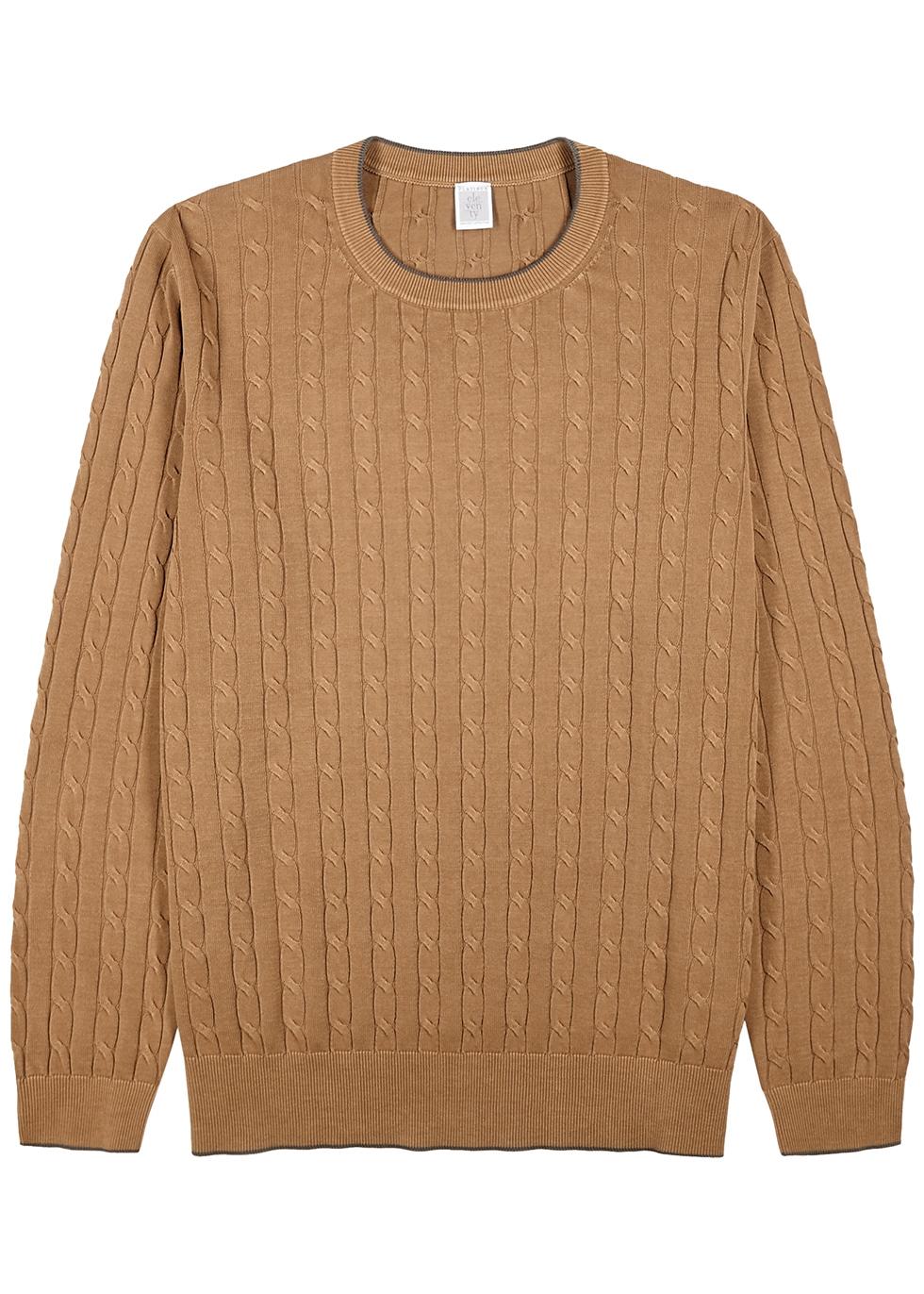 Camel cable-knit cotton jumper