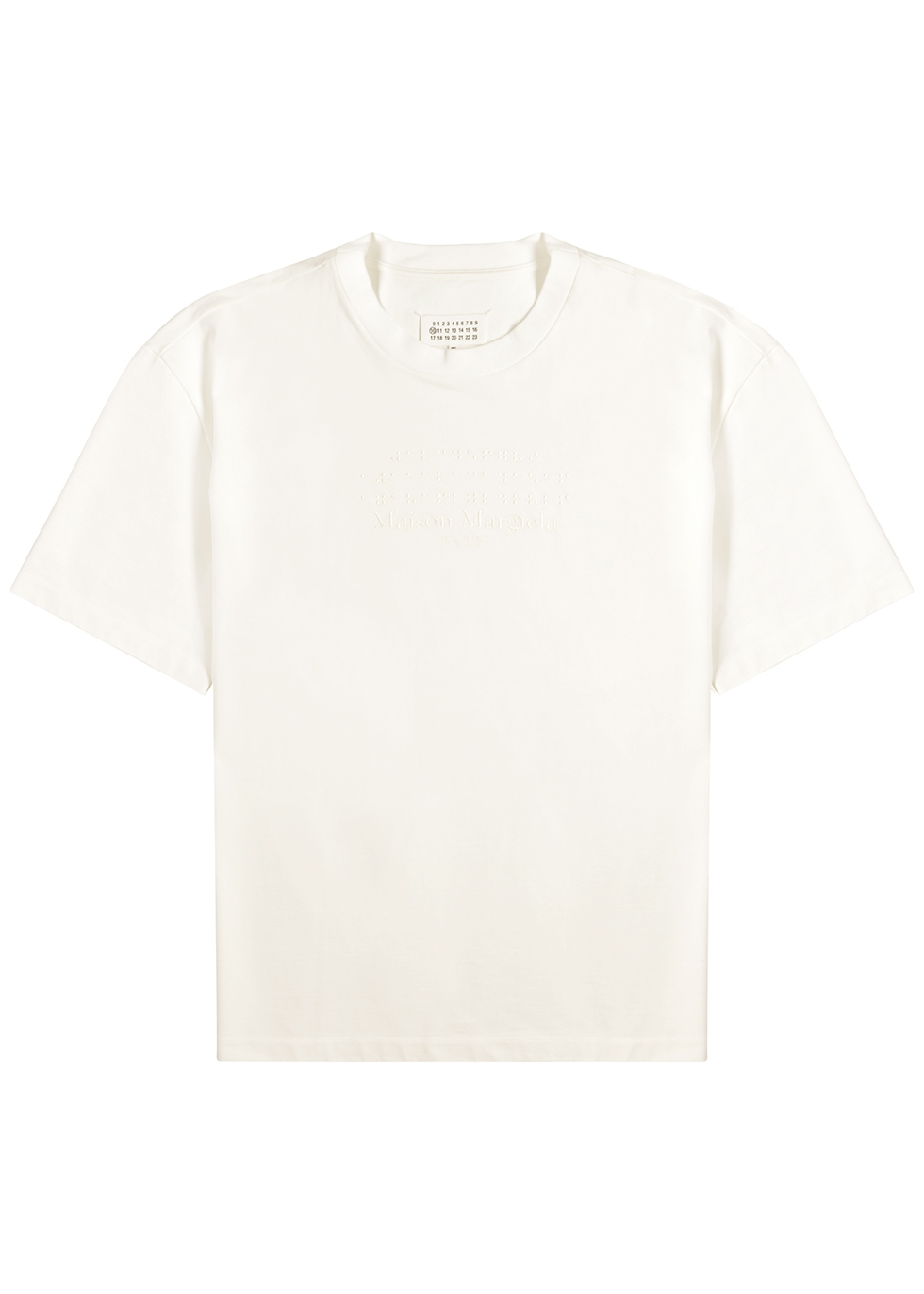 White embroidered cotton T-shirt
