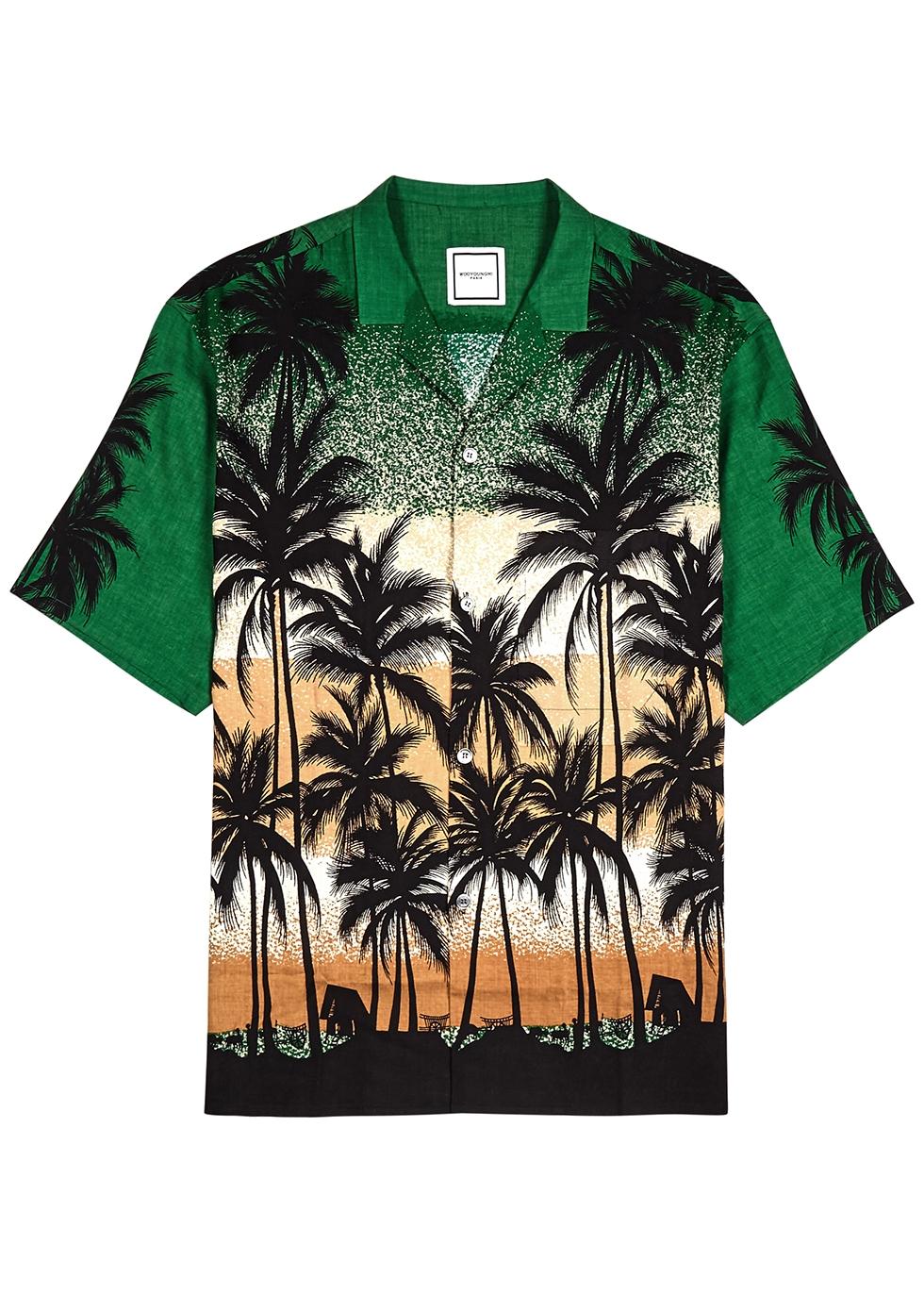 Green printed woven shirt