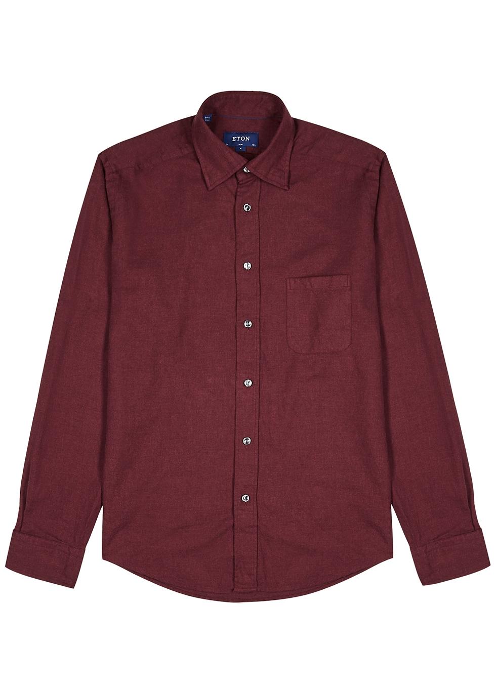 Burgundy brushed cotton shirt