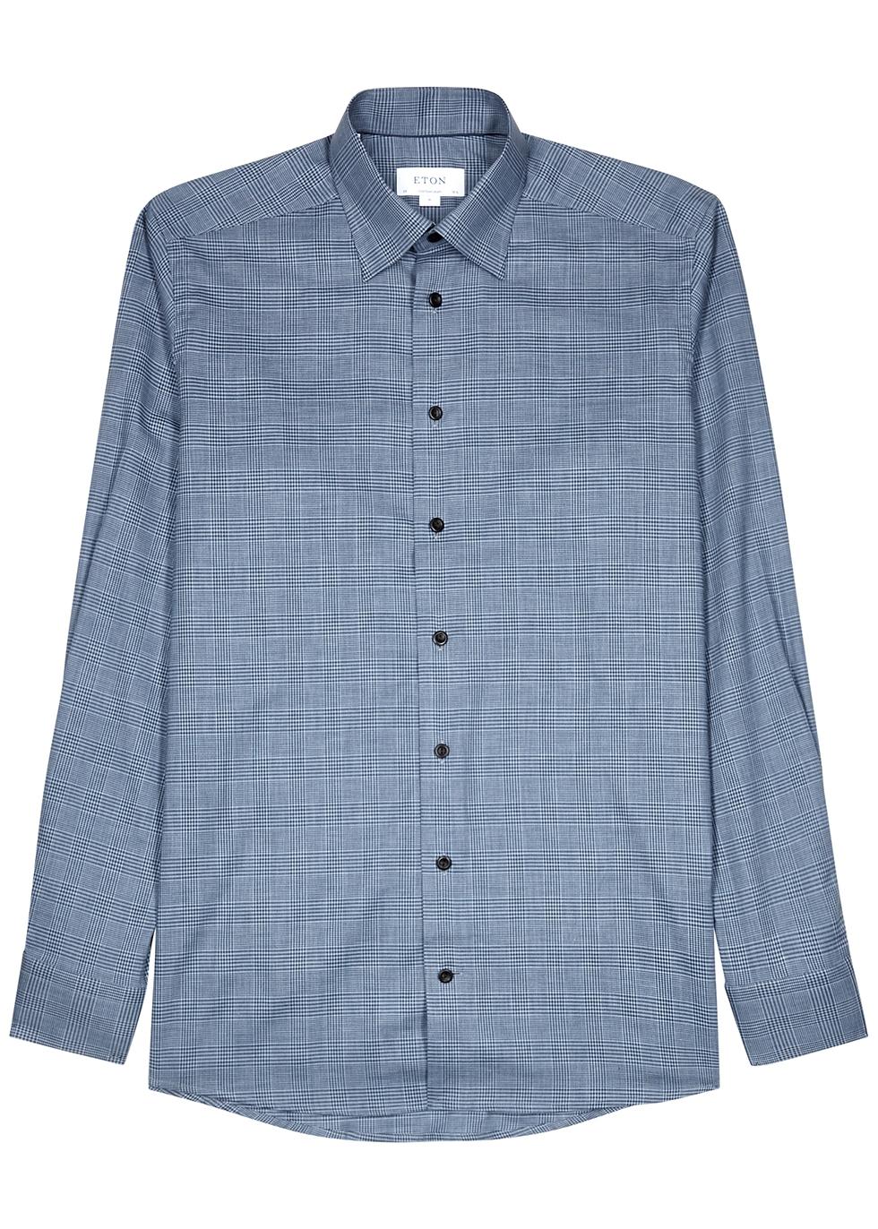 Blue contemporary checked cotton shirt