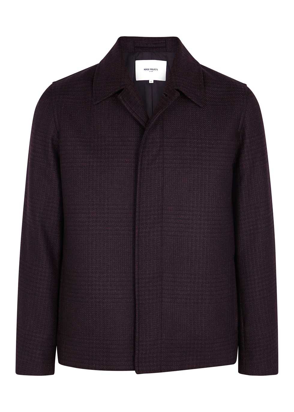 Burgundy checked wool-blend jacket