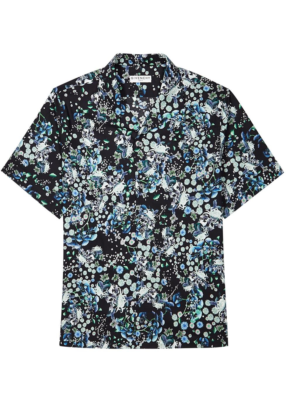 Black floral-print cotton shirt