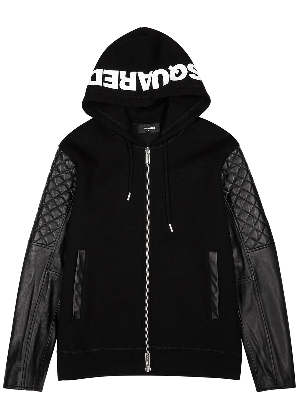 Black panelled rib-knit jacket