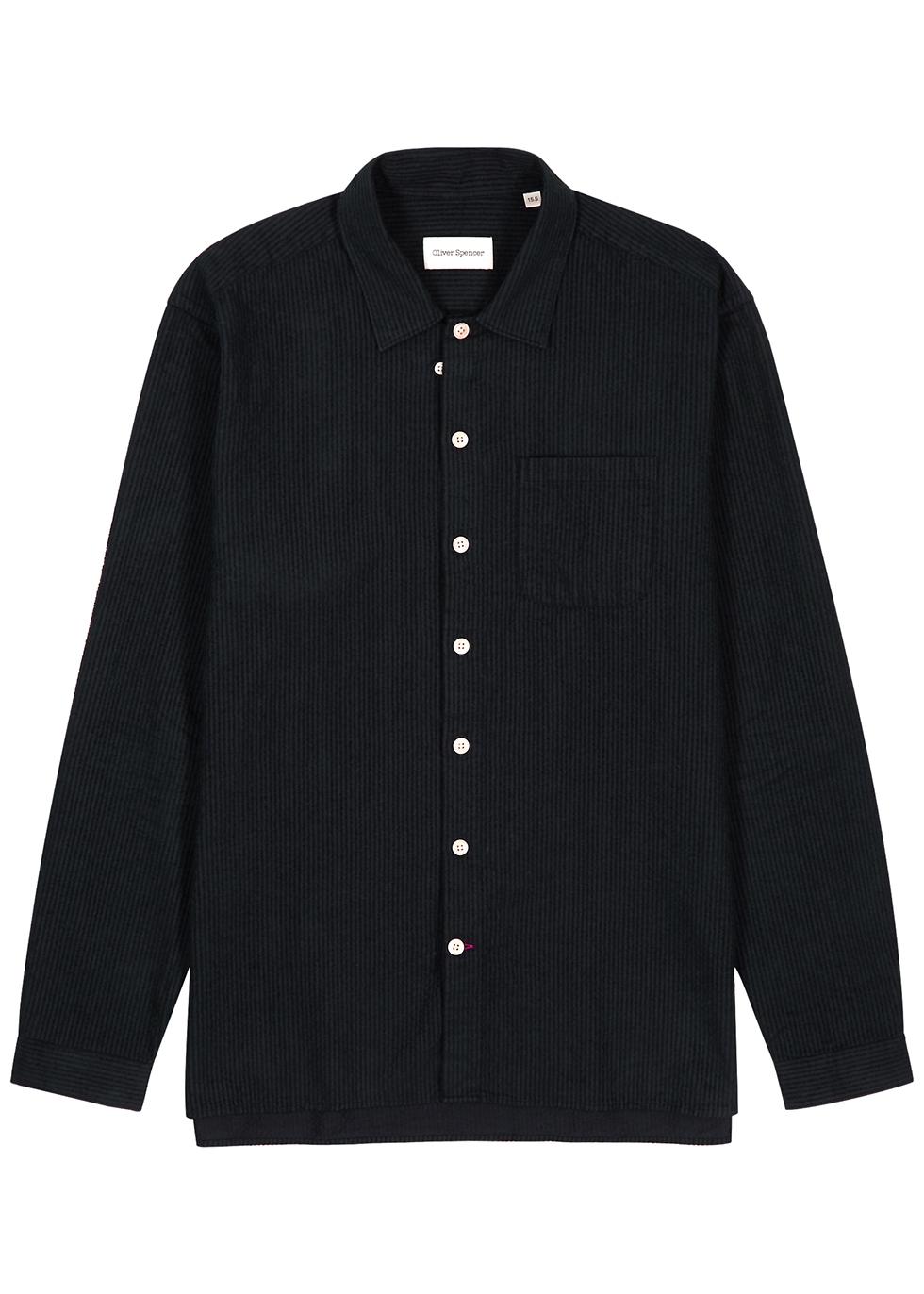 Miller black brushed-corduroy shirt