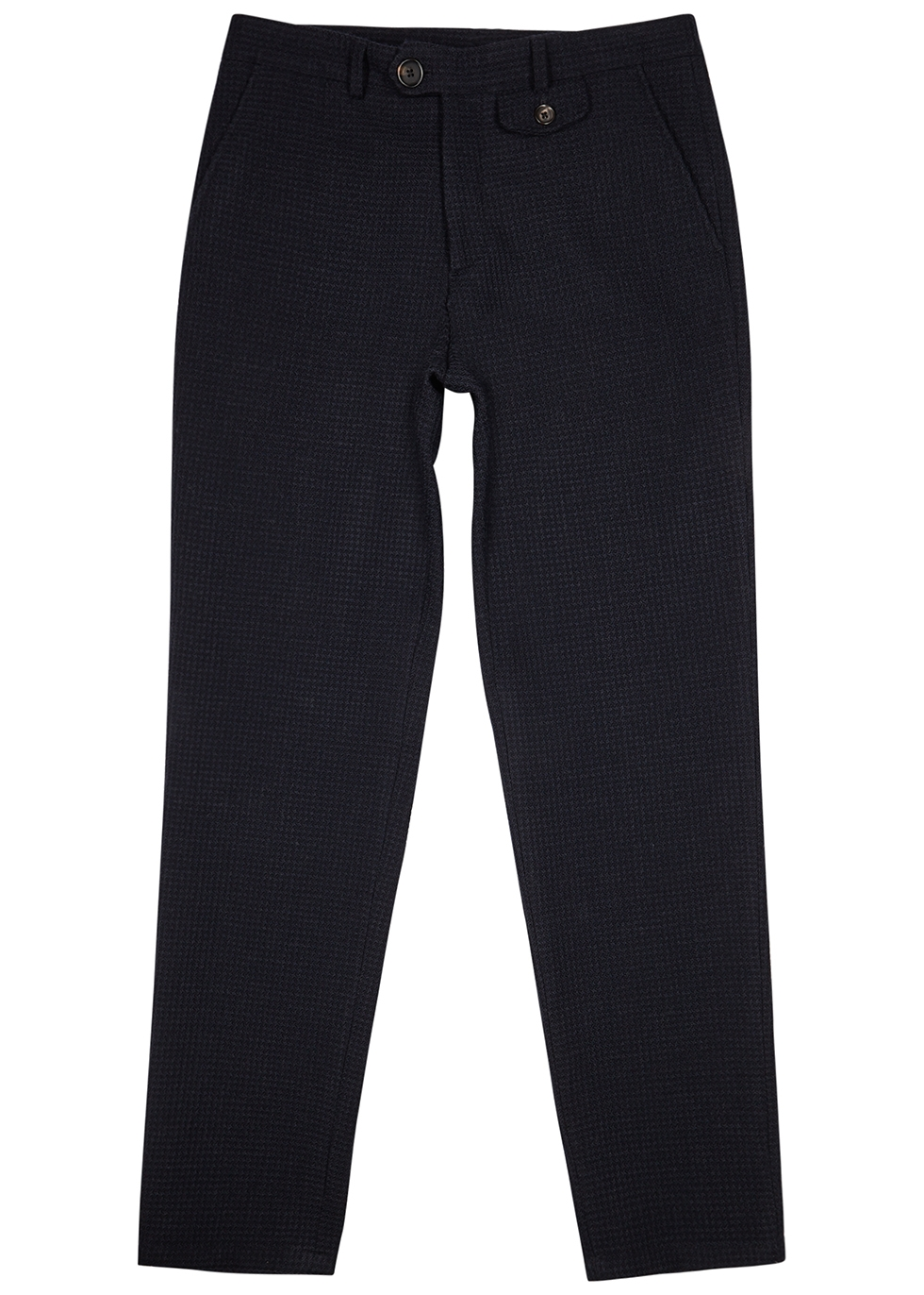 Fishtail navy wool-blend trousers