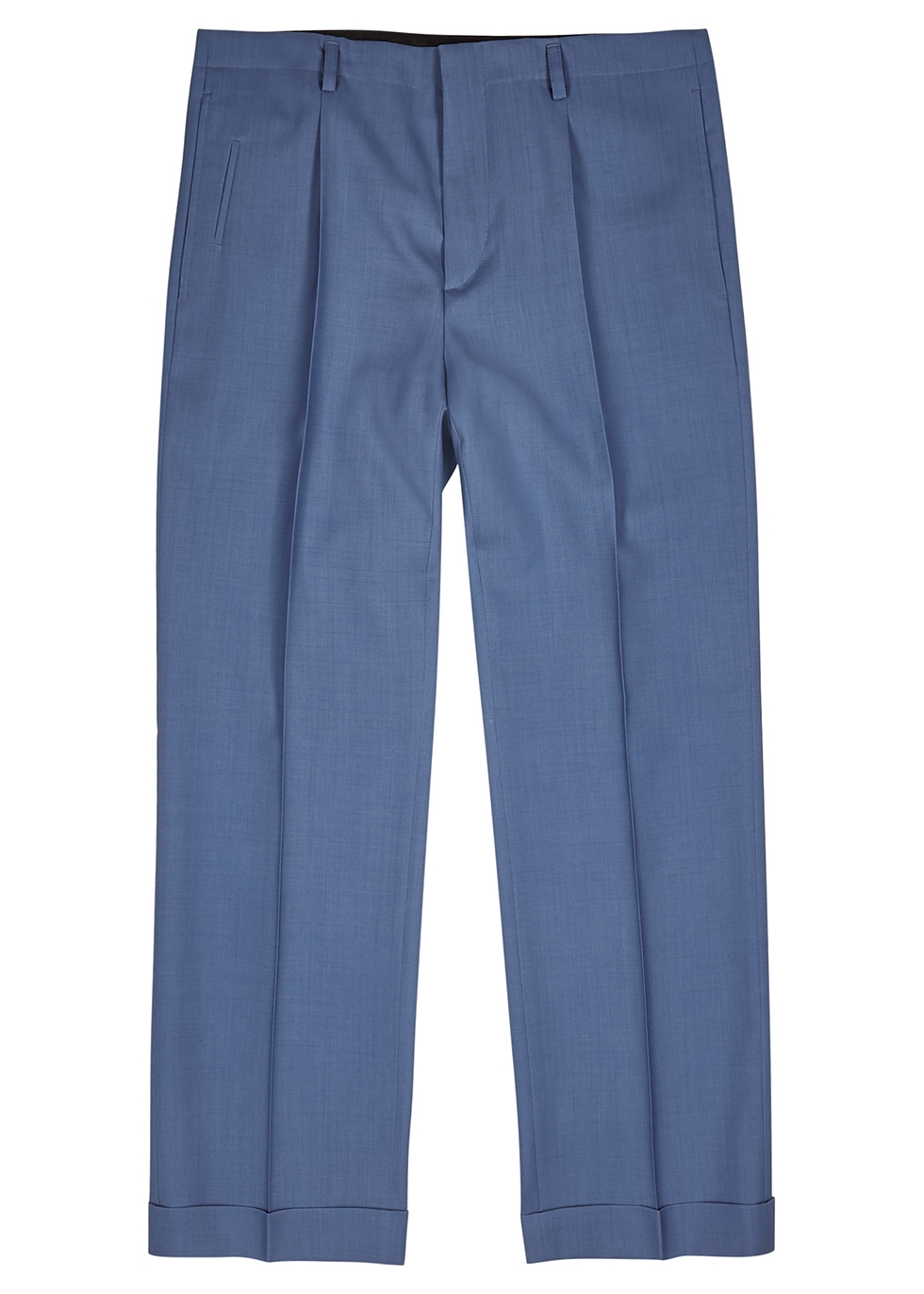 Blue cropped wool trousers