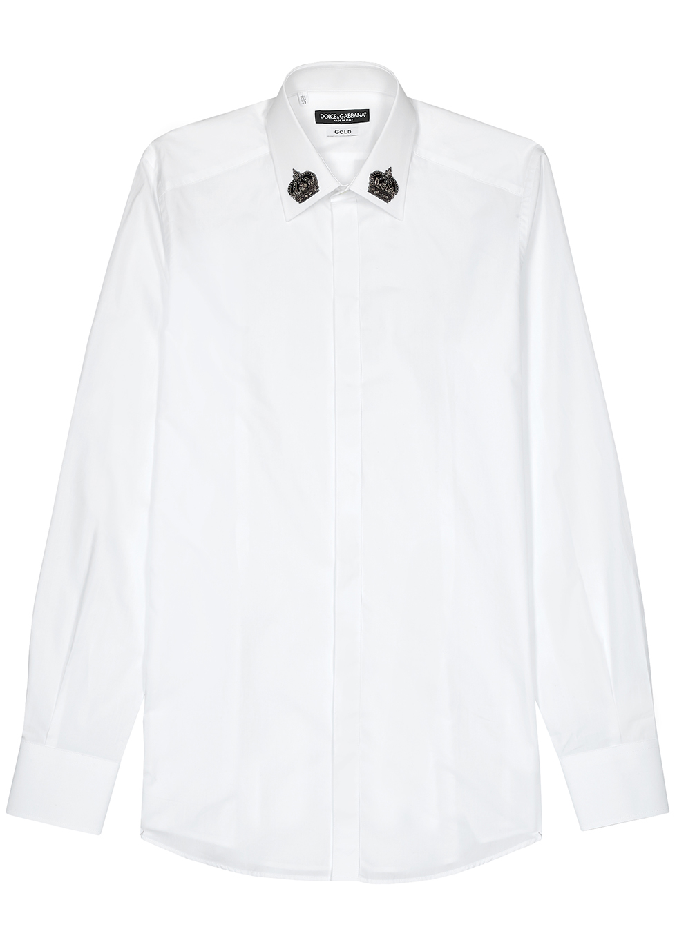 White crown-embroidered cotton shirt