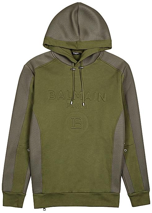 BALMAIN Logo-embossed cotton and mesh sweatshirt