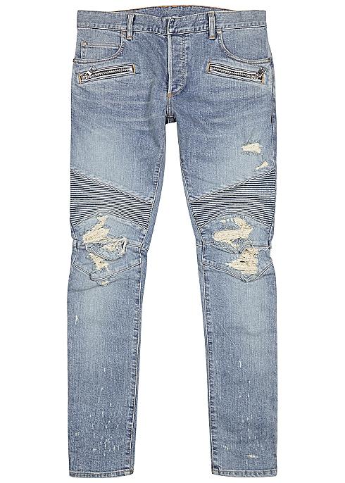 BALMAIN Light blue distressed skinny biker jeans