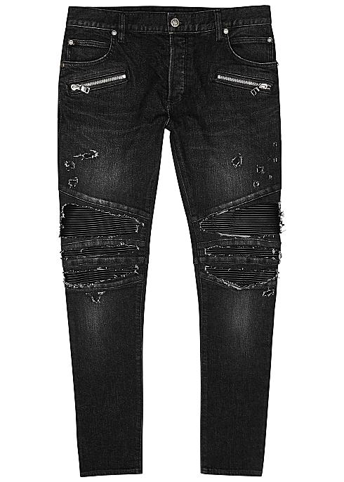 BALMAIN Dark grey distressed skinny jeans