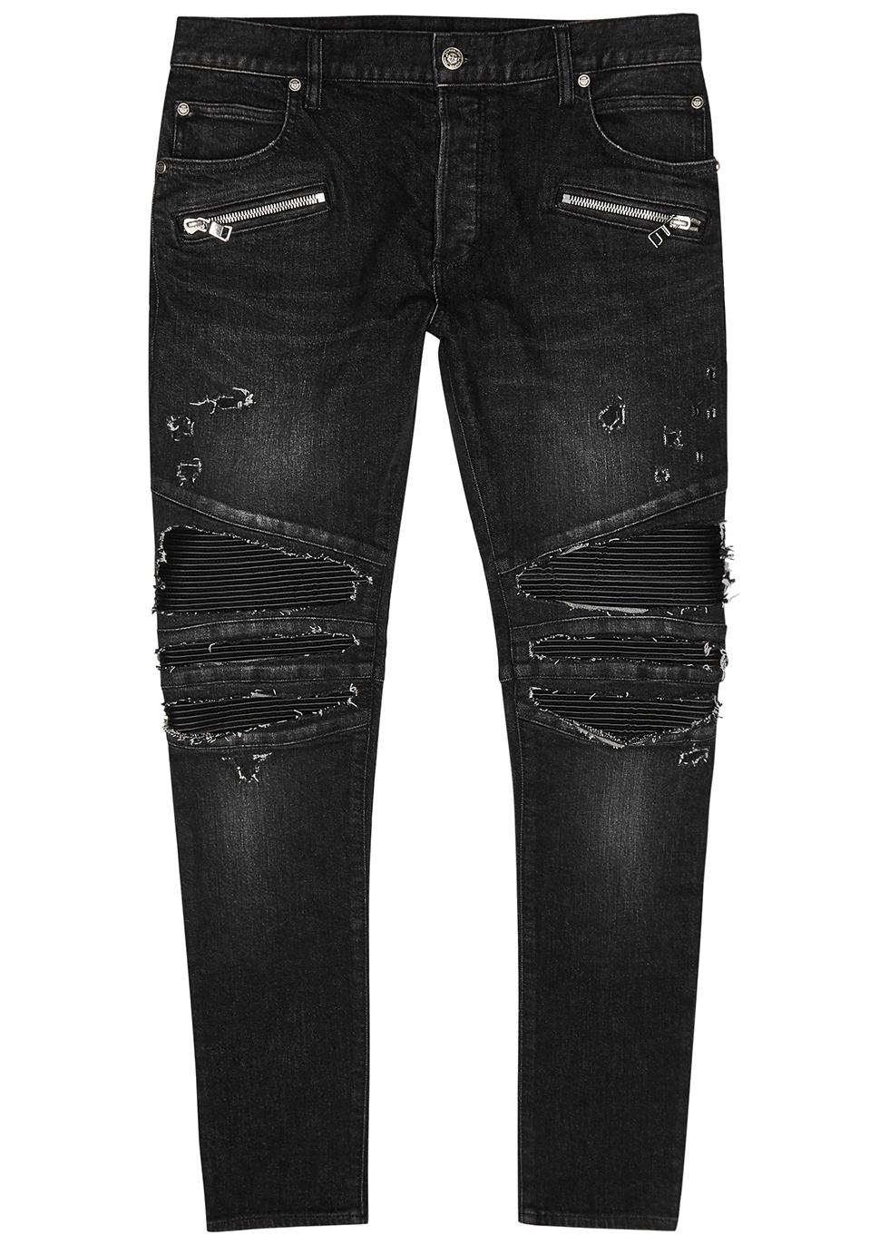 Dark grey distressed skinny jeans