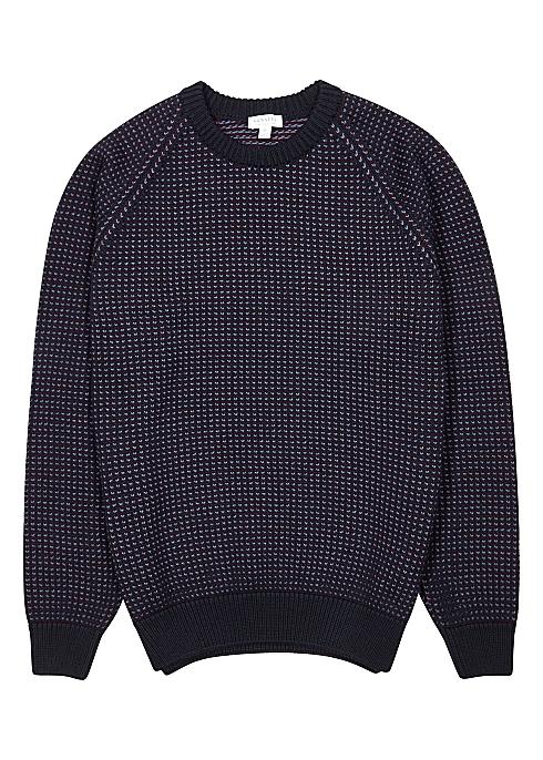 Navy intarsia wool jumper