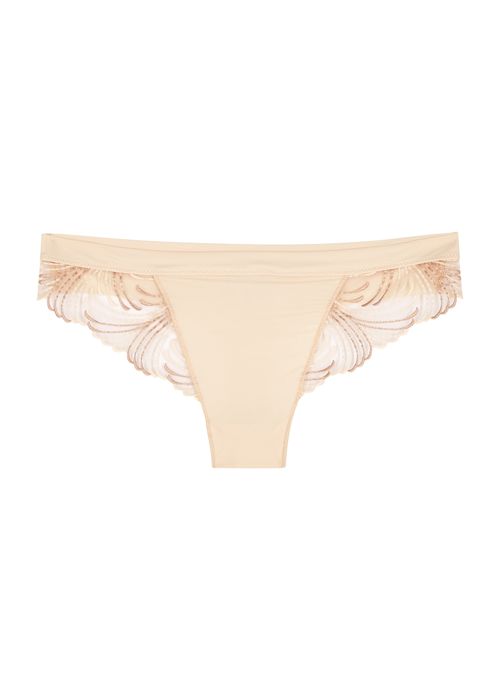 Nuance blush embroidered thong