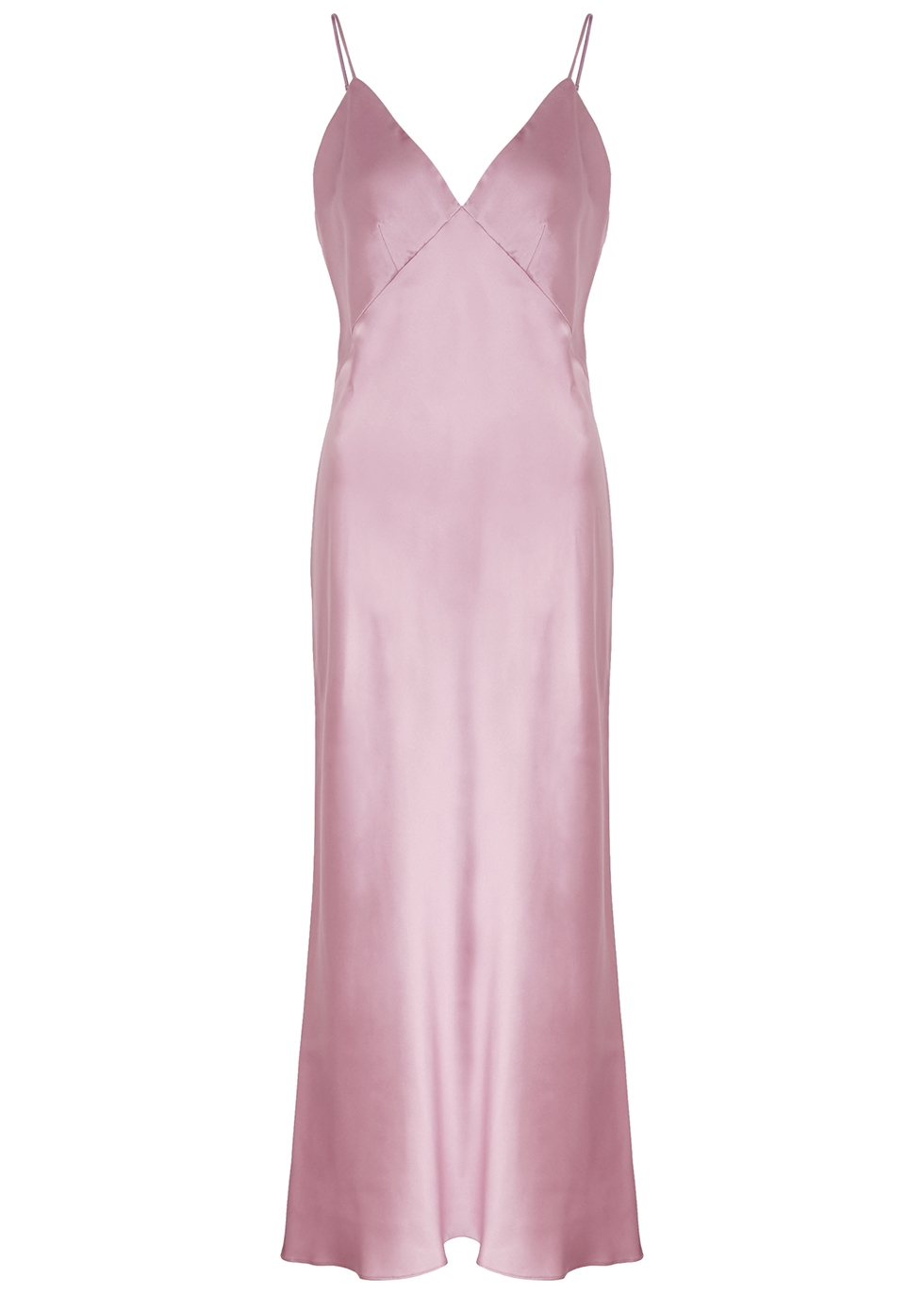 Issa pink bias-cut silk slip dress