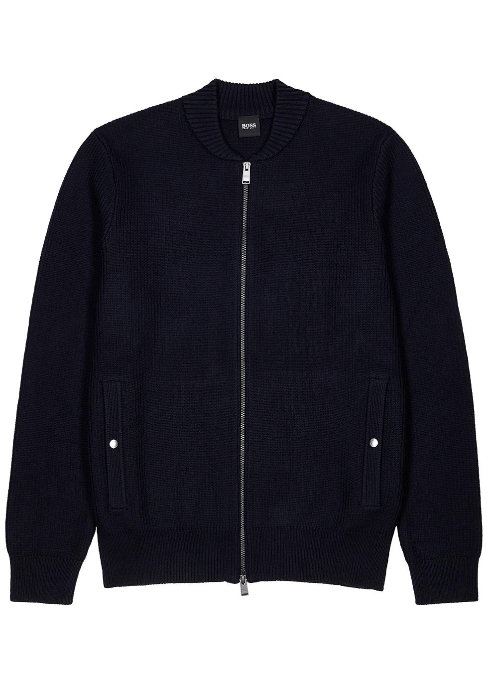 Navy chunky-knit cotton-blend cardigan