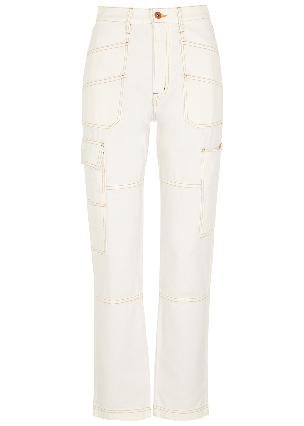 Saviour off-white straight-leg jeans