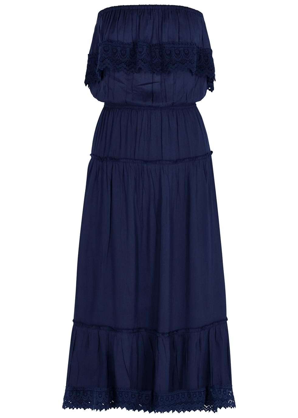 Clara crochet-trimmed rayon midi dress