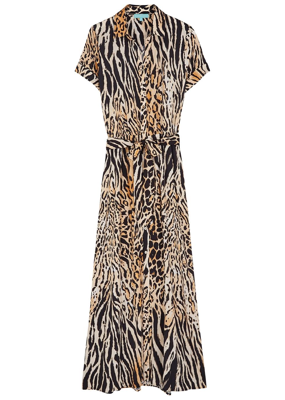 Naomi cheetah-print maxi shirt dress