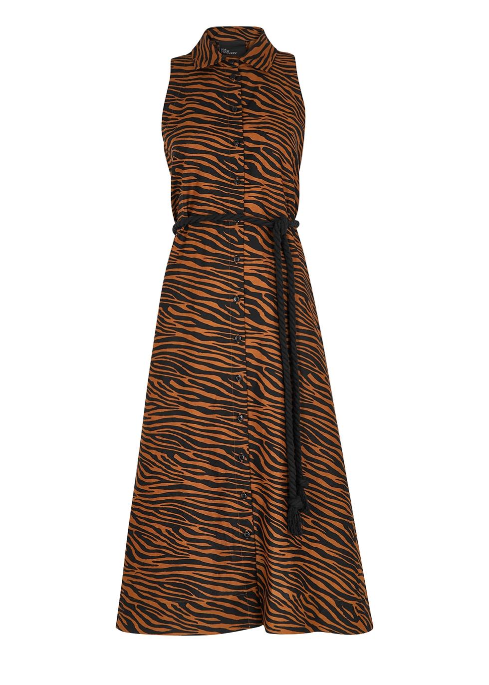 Alison zebra-print linen-blend shirt dress