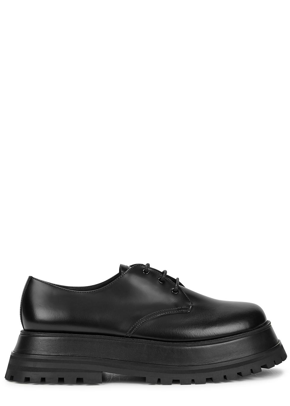 Guild 50 black leather flatform Derby shoes