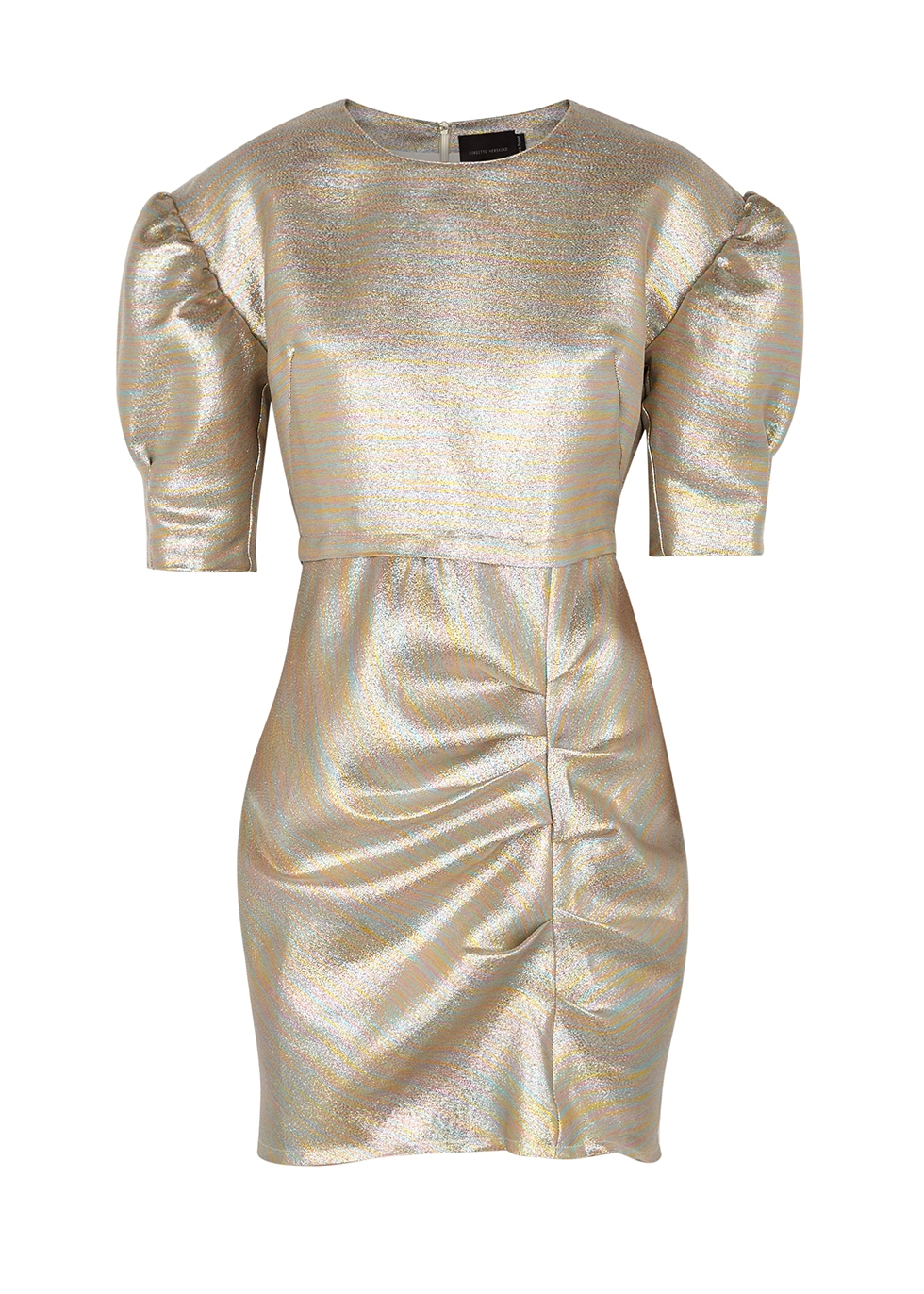 Baker puff-sleeve lamé mini dress